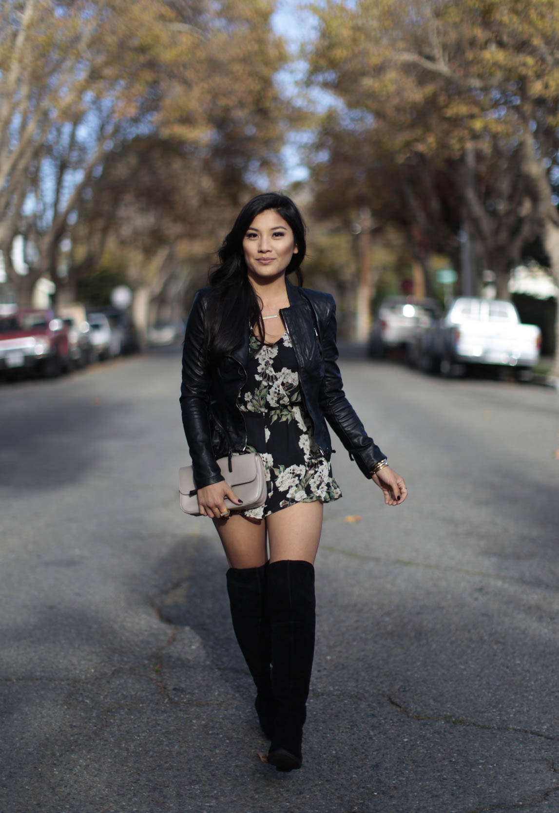 59800dc85c38 OOTD  How to wear knee high boots with a romper - Colors of Chic
