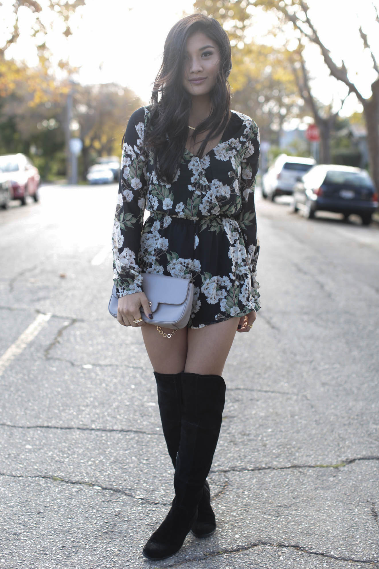 836fab471b8c OOTD  How to wear knee high boots with a romper - Colors of Chic